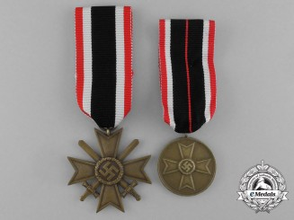 A Grouping of a War Merit Cross 2nd Class with Swords and a War Merit Medal