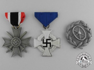 A Grouping of Three Second War German Awards and Decorations