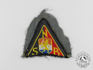 Germany, NSB. A Tunic Removed National Socialist Movement in the Netherlands Black Shirts Sleeve Patch