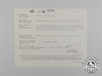 A Croatian/German/Italian Award Document for Bronze Bravery Medal to Josef Brunner