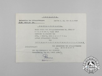 A 1920 Award Document for the Prussian Pilot's Commemorative Badge to Erich Sperling