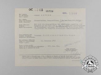 A Croatian/German/Italian Award Document for Bravery Medal to a Dauntless Daredevil