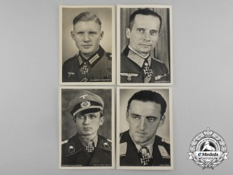 Four Wartime Knight's Cross Recipient Postcards