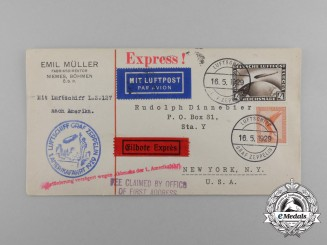 "An Unopened 1929 Envelope Posted to New York via Airship ""Graf Zeppelin"""