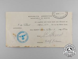 Germany, Kriegsmarine. An Argentinian POW Pass for a Sailor of the Scuttled Cruiser Admiral Graf Spee