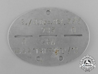 A Second War German 2nd Jäger Reserve Division Identification Tag