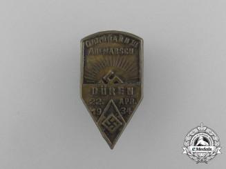 A 1934 HJ Oberbann Düren Rally Badge