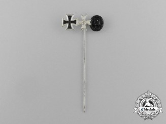 A Mint Second War German Miniature Iron Cross Group Stick Pin