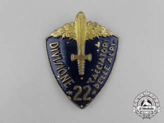 "An Italian 22nd Infantry Division Cacciatori delle Alpi ""Hunters of the Alps"" Sleeve Badge"