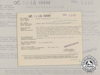 A Croatian/German/Italian Award Document to Machine Gunner Franz Laszakovits