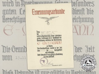 "An Appointment Document for Gunner Theodor Blume to Flak ""E-Messmann"""