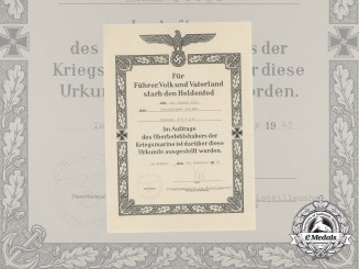 A Kriegsmarine Hero's Death Notice of Hermann Stegk