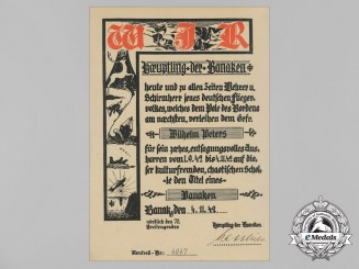 A Luftwaffe Honour Document from Banak Airfield, Occupied Norway