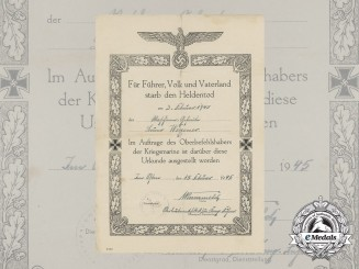 A 1945 Kriegsmarine Hero's Death Notice