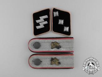 A Set of Waffen-SS Untersturmführer Panzerjäger/Ani-Tank Collar Tabs & Shoulder Boards