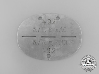 A Second War German 4th Signals Reserve Division Identification Tag