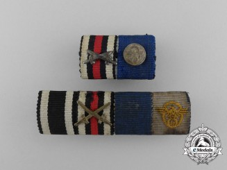 Two First & Second War German Police Long Service Medal Ribbon Bars