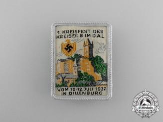 A 1937 1st District 8 Festival in Dillenburg Badge