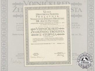 A Croatian Military Order of Trefoil Award Doc. to Art. Hauptmann, I.Kos.Art.Abt./Kuban/I/55