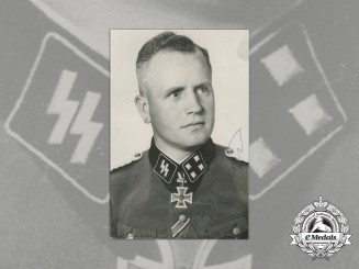A Post War Signed Photo of SS-Obersturmbannführer Hugo Eichhorn; Knight's Cross Recipient