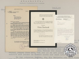 Correspondence of the Death of Obergefreiter Heinz Borchardt at Stalingrad