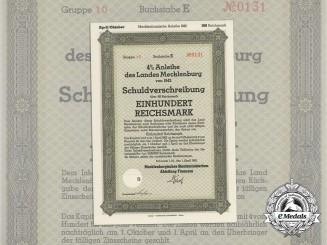 A 1940 State Debenture Bond Mecklenburg 100 Reichsmark