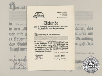 An Award Certificate for the 1924 Stahlhelm Badge