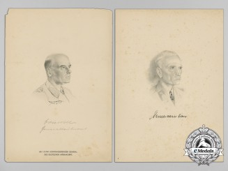 Two Wartime Drawings of Wehrmacht Officers; Knight's Cross Recipients