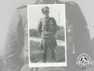 A Post War Signed Photo of SS Officer Karl Kreutz; Oak Leaves Recipient