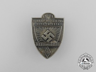 """A 1934 HJ """"Blood and Honour"""" Bann 289 Rally Badge"""