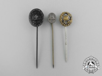 Germany, Heer. Three Miniature First &  Second War German Wound Badge Stick Pins