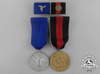 A Second War German Luftwaffe Long Service Medal Grouping with Ribbon Bar