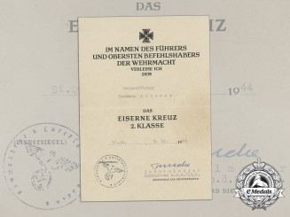 An Award Document for an Iron Cross 1939 Second Class to NCO Hermann Scherer