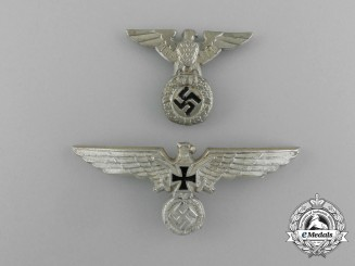 A Grouping of Two Second War German Cap Eagles