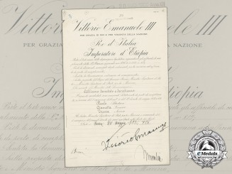 An Italian Navy Appointment to Lieutenant Signed by Mussolini & King Vittorio Emanuele III