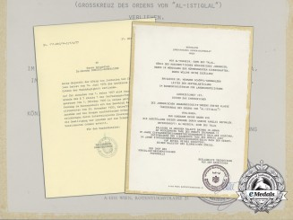 An Award Document for an Order of Independence of Jordan to Austrian Military Attaché