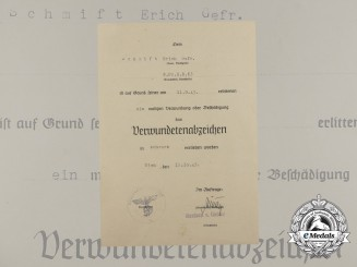 A Black Grade Wound Badge Document to Panzer Grenadier Regiment 63