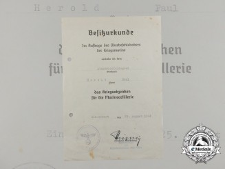 A Naval Artillery War Badge Award Document Signed by Rear Admiral Stichling