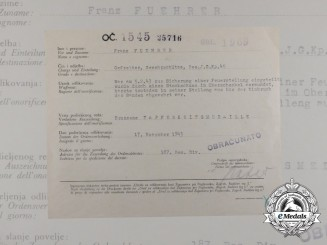 A Croatian/German/Italian Award Document for Bronze Bravery Medal to Franz Fuehrer