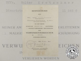 A Wound Badge Document to Walter Kretschmer; Luftwaffe Artillery Regiment 16