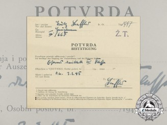 A WWII Croatian Preliminary Award Document (Vorschlag) for the Order of Iron Trefoil
