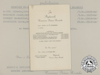 A WWII Croatian Preliminary Award Document (Vorschlag) to 4 German Luftwaffe NCO's