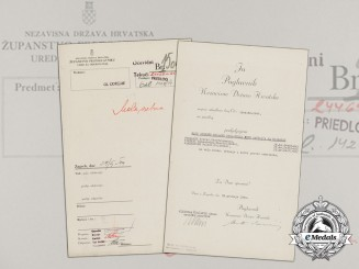 A WWII Croatian Preliminary Award Document (Vorschlag) to 3 German NCO's with Signature of Ante Pavelić
