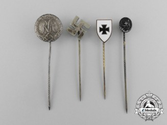 A Grouping of Four Second War German Stick Pins