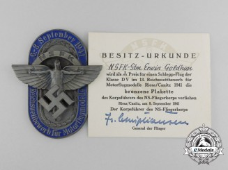 A Cased and Named 1941 NSFK 3rd Prize Plaque for the Reichs Airplane Competition