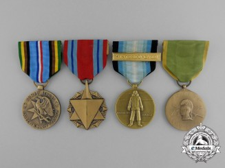 Four American Service Medals & Awards