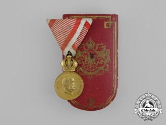 An Austrian Military Merit Medal; Bronze Grade with Case