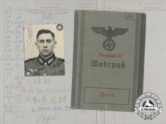 A Wehrpaß to Obergefreiter Konrad Schäfer; Leningrad KIA