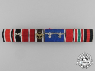 A German Wehrmacht Army Long Service, Memel, & NSDAP Ribbon Bar