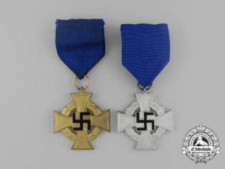 Two German Faithful Service Crosses; 2nd and 3rd Class